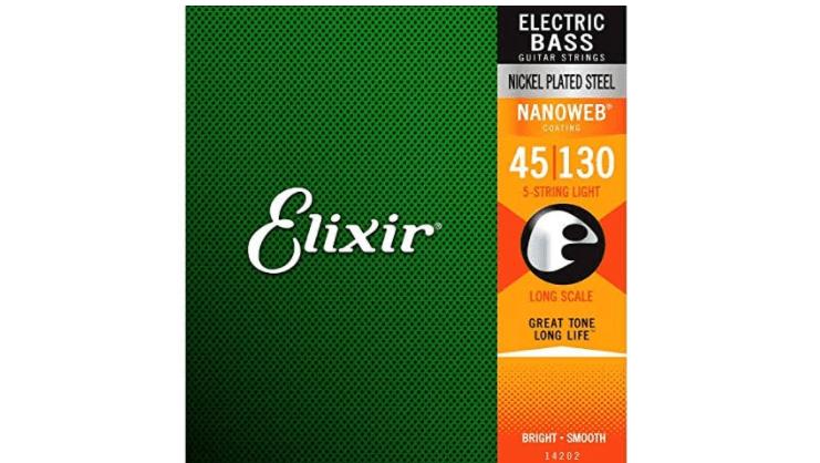 Elixir Strings Nickel Plated Steel 5-String Bass Strings with NANOWEB Coating