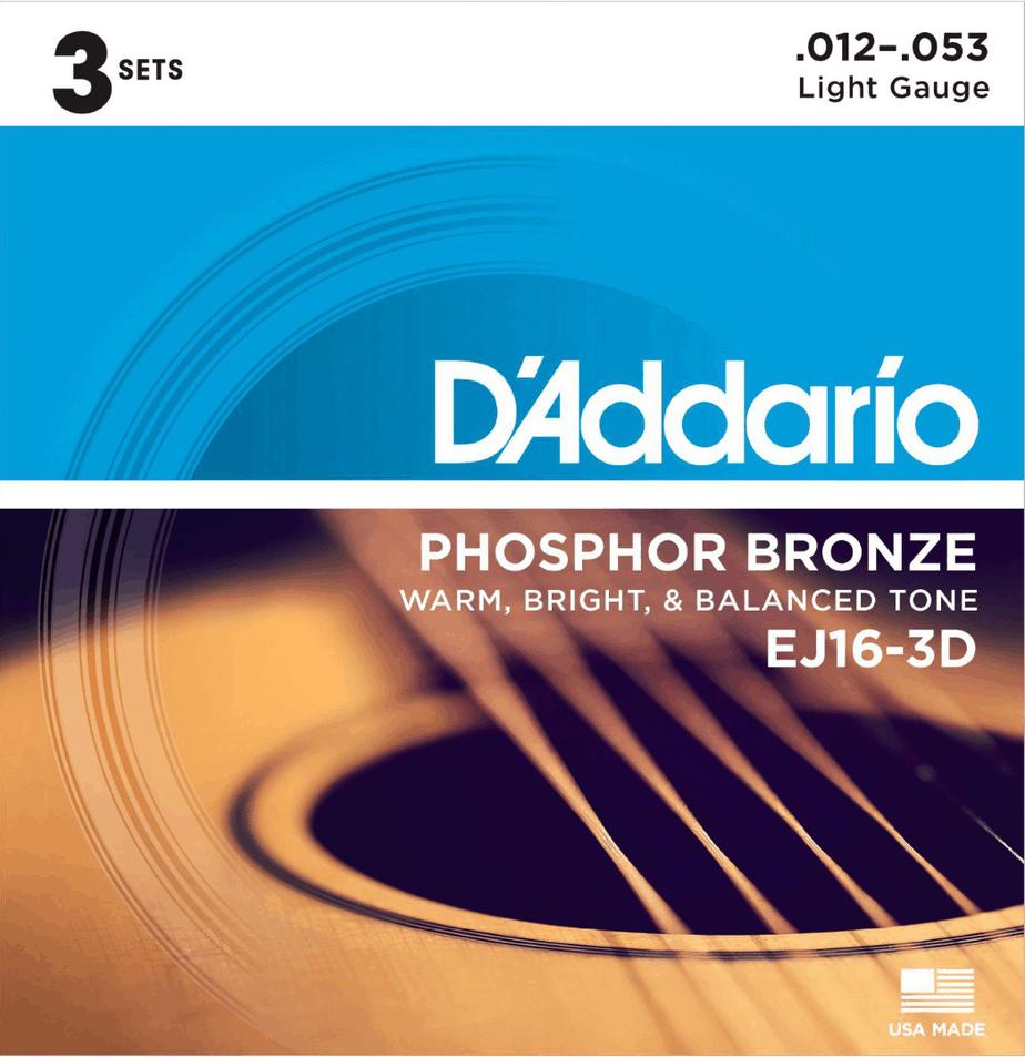 D'Addario EJ16-3D Phosphor Acoustic Guitar Strings (3-Pack) | Guitar Center