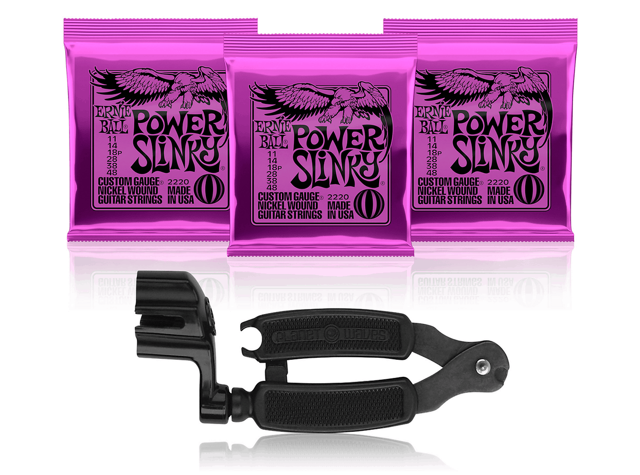 Ernie Ball 2220 Electric Guitar Strings 3-Pack with Pro-Winder String Cutter/Winder