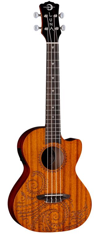 Luna Guitars Tattoo Mahogany Tenor Acoustic-Electric Ukulele | Guitar Center